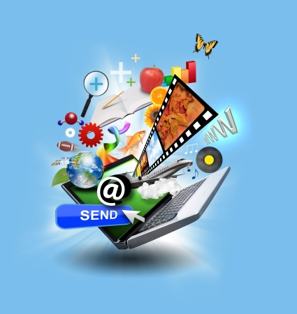 email: An laptop has many objects projecting out of the screen on a blue glowing background  There is a send button, music and art objects  Use it for an email download concept or internet research idea  Stock Photo