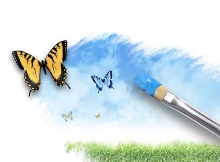 butterflies flying: Un pincel artista está pintando un resorte, escena de la naturaleza del verano en un fondo blanco aislado Hay mariposas que salen de la salpicadura de la pintura Utilícelo para el concepto de creatividad o imaginación Foto de archivo