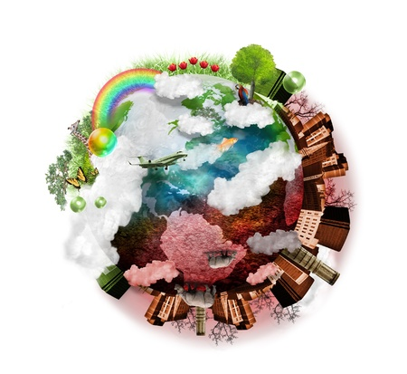 A green and red globe of the earth is isolated on a white background with clouds, a city, trees and grass around it  It is beautiful on one side and destructive on the other representing time  photo