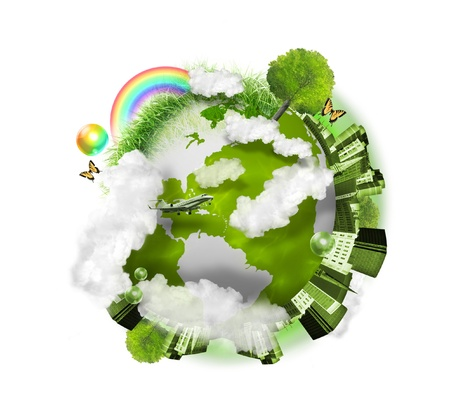 A green globe of the earth is isolated on a white background with clouds, a city, trees and grass around it  Use it for a nature concept   photo