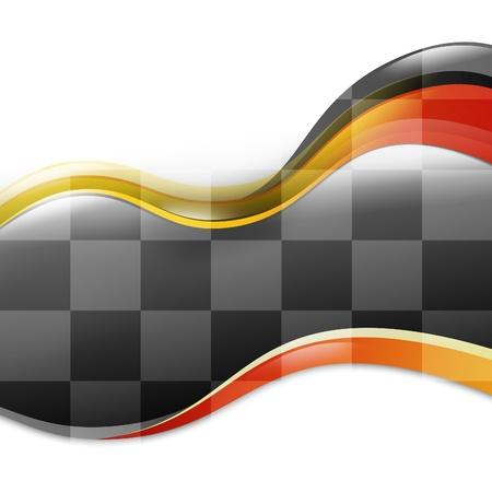 bandera carrera: Una carrera de fondo y velocidad coche con curvas olas rojas y amarillas sobre un fondo blanco aislado Hay un patr�n a cuadros blanco y negro que fluye para indicar el final o el ganador un Foto de archivo