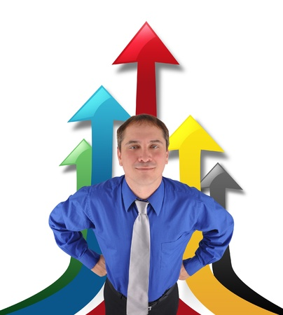 A business man is standing proud with upwards arrows on a white background. Use it for a business or profit concept. Stock Photo - 17892579