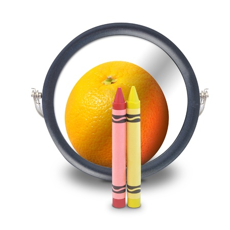 A red and yellow crayon are looking into a mirror and see an orange fruit as the reflection for an innovation or vision concept. Stock Photo - 17982461