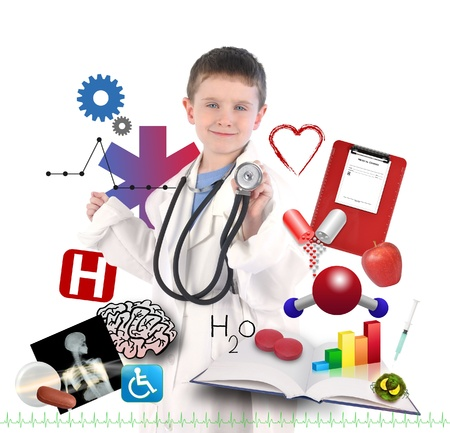 A child is wearing a doctor uniform with health and medical icons around the boy for an education career concept