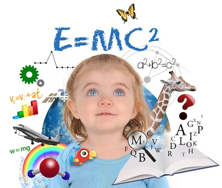 scholastic: A young girl is looking up at different science, math and physics icons around her on a white background  Use it for a school or learning concept   Stock Photo