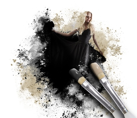 A black paintbrush is painting a woman in a long dress with a messy artistic texture around her on an isolated white background