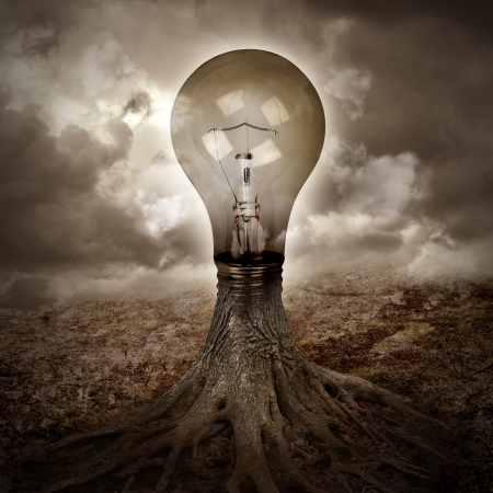 A light bulb is growing as a tree in a dark nature scene with roots for an energy or idea concept