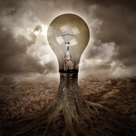 planta con raiz: Una bombilla de luz est� creciendo como un �rbol en una escena de la naturaleza oscura con ra�ces de un concepto o idea energ�a