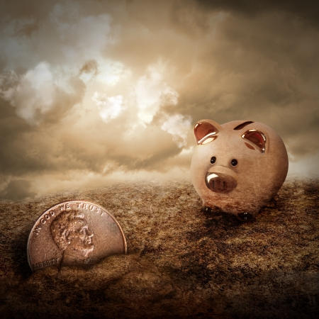 penny: A gold piggy bank is looking at a lost penny coin hiding in the dirt with clouds in the sky  Use it as a metaphore for a welath or money concept  Stock Photo