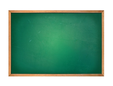 scratches: A blank school green board is isolated on a white background  Use it for an education or school concept and add your message