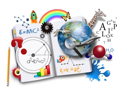 scholastic: An open book has various math, science and space concepts coming out of it for a school or learning concept.  Stock Photo