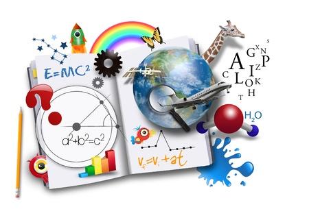 föremål: En öppen bok har olika matematik, naturvetenskap och utrymme koncept kommer ut av det för en skola eller lära konceptet.