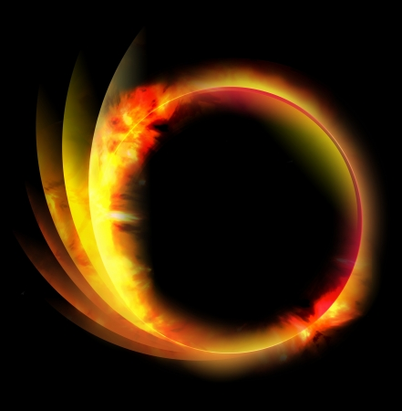 ring light: A circle fire ball is on a black background and there are lines coming out of the side. Can be used as an energy or space concept.