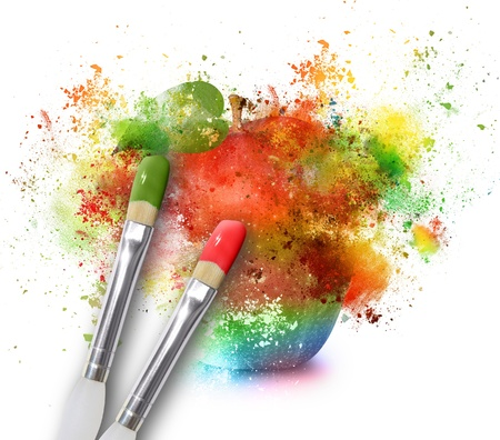 An apple is being painted with rainbow splatters on a white isolated background for an artistic design concept.