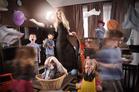 clutter: A housewife is wearing a glamourous beautiful dress and cleanning the house while wild children are running around making a mess.