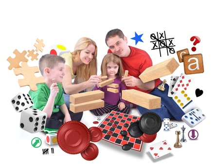 board game: A happy fammily is playing with various games of puzzles, blocks and checkers on an isolated white background.