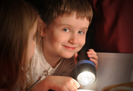 A little boy is reading a book at night with a flashlight in his bedroom for an education or fairytale concept. Banco de Imagens - 19405259