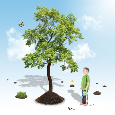 forest conservation: A young boy is growing a big tree from soil on a white and blue gradient background