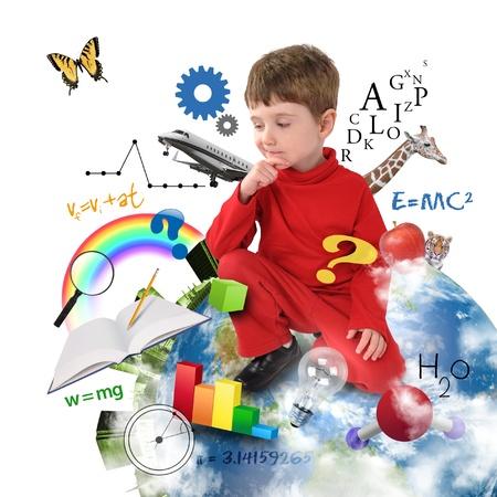 若い男の子はアイコンが異なる科学、数学および物理学彼の周りの白い背景に地球に座っています。