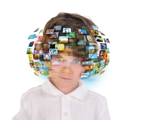 A young boy has different media images around his head on a white background