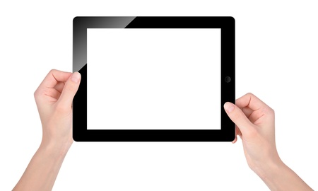 blank tablet: Hands are holding a technology tablet with a blank, white screen on an isolated background.  Stock Photo