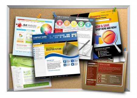 pin board: A bulletin board has a variety of template websites hanging up with push pin tacks on a white background  Use it for a technology web design concept  Stock Photo