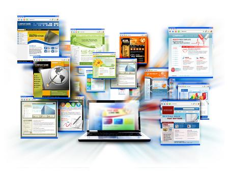 孤立したラップトップ コンピューターは、白い背景で画面から出てくる別のウェブサイト