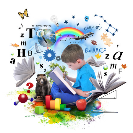 A young boy is reading a book with school icons such as math formulas, animals and nature objects around him for an education concept on white  Stock Photo