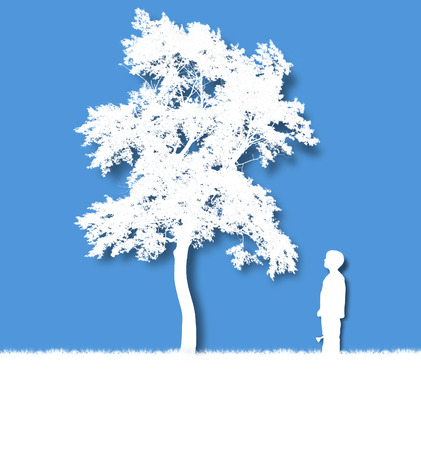 A young child is growing an isolated white tree on a blue background for a growth, time or dream concept