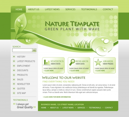 A green, eco, nature environmental web template with a header and navigation   photo