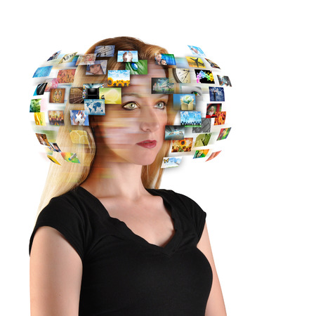 A technology woman has images around her head representing entertainment media on a white