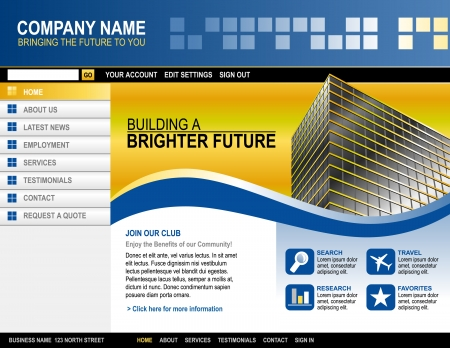 building site: A blue and yellow website template for your business  There is a building on the side with abstract shapes and boxes