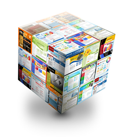 url web: A 3d internet box is on an isolated white background