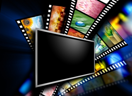 A flat screen television has entertainment film images on the black background   Stock Photo