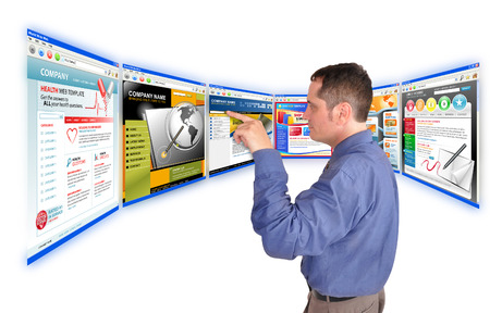 url virtual: A business man is searching and pointing at an internet website and there are many web choices  He is on a white background  Use it for a communication, commerce or a research concept