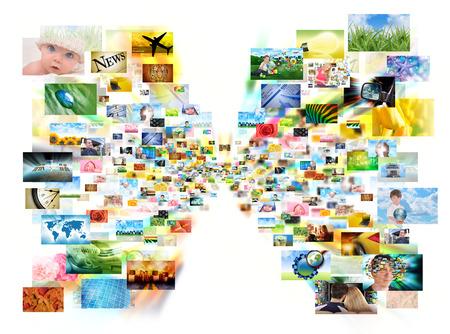 画像は分離された白の中心から写し出して背景テレビや web ストリーミングの概念のために使用