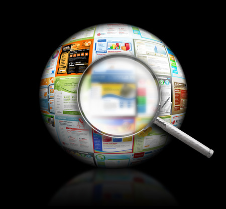 A magnifying Glass is searching the internet and there are different website templates in a 3D Ball on a black background  Use it for a research or optimization concept   photo