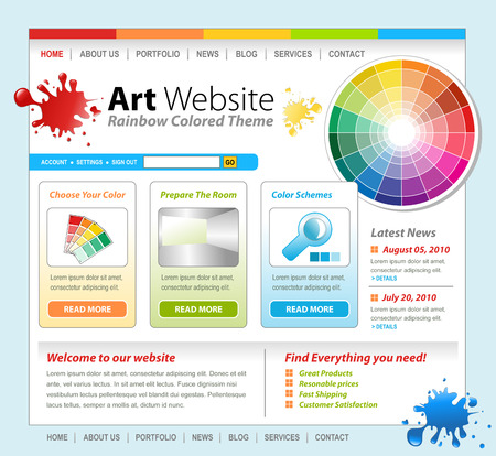 color wheel: A colorful technology website template with an art concept  There are paint splatters and a color wheel with swatches  Perfect for a painter or designer interface   Stock Photo