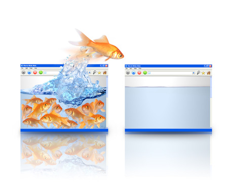 cramped: A leader goldfish is jumping from a cramped website to an empty webpage  The background is white  Use it for a business growth concept