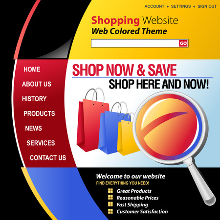 A red, blue, yellow and black internet website store template for your business  There are shopping bags in the header with a magnifying glass  photo