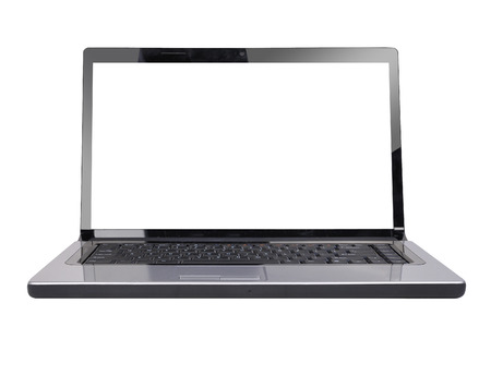 A white computer laptop is on a white, isolated background  It has a white screen to add your text message  Use it for a technology or web concept