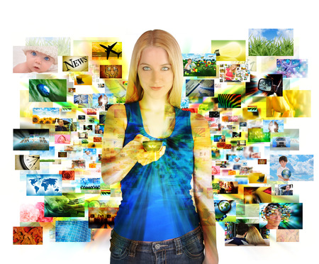 A girl has a remote control on a white background and looking at various images channels from a televsion for an entertainment or media concept  Imagens
