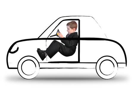 A young boy in a suit is driving an invisible car sketch on a white isolated background  Use it for a travel or imagination concept   photo