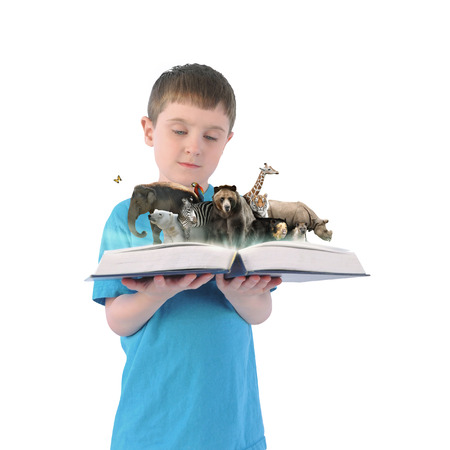 A young child is holding an open book with wild animals coming out on a white isolated background for a education, zoo or school concept. photo