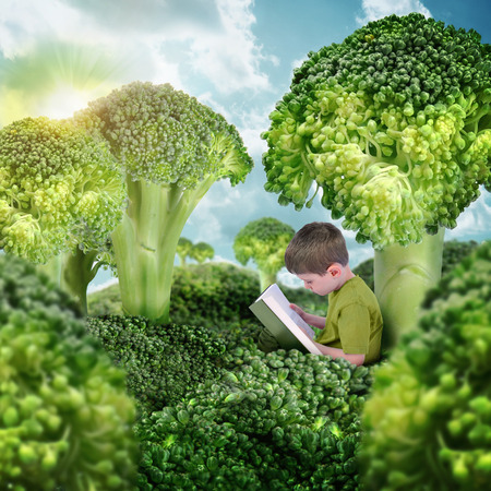 A little boy is reading a book in a surreal nature landscape. The broccoli vegetables are trees and grass for a health or education concept.