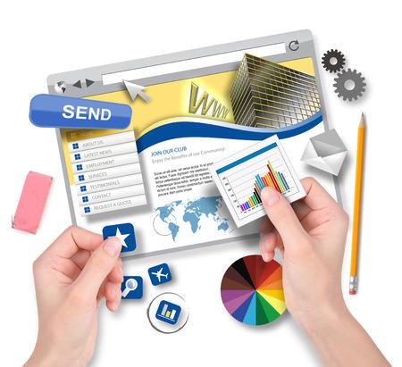Een internet website template wordt gemaakt door een ontwerper met handen houden seo gegevens en pictogrammen voor een technologisch concept