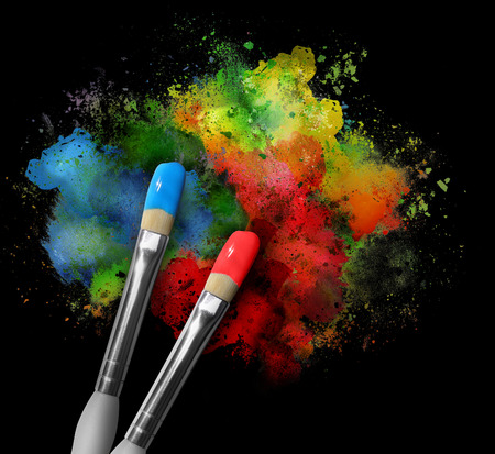 messy paint: Two paintbrushes are painting a rainbow splattered art project. Stock Photo