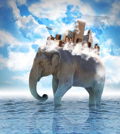 An elephant is carrying a city on its back with clouds in the sky and water on the ground. use it for a metaphor for travel, strength or an advantage concept.