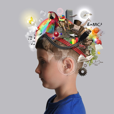 A child has various education and school objects on his head with a isolated background. Subjects are art, science, technology and nature.