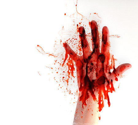 blood smear: A bloody hand is smearing red blood on a window on a white isolated background for a horror or killer concept. Stock Photo